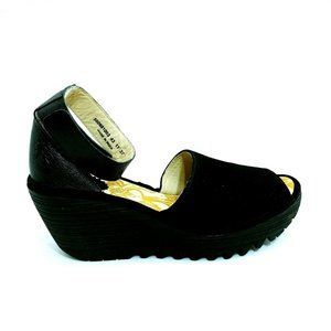 FLY London Yake Perforated Leather Wedge Sandal 37